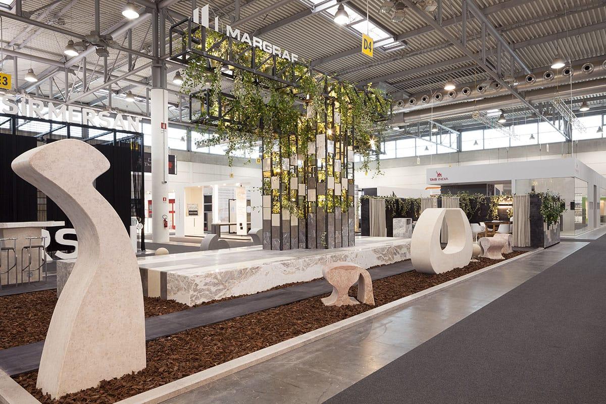 Documentazione dello stand installazione Margraf durante la fiera Marmomacc Verona 2014 a cura di Metrogramma.